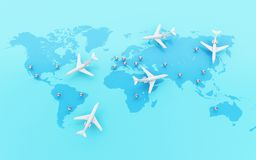 3d Airplanes flying around globe with map pointer. 3d illustration. Airplanes flying around globe with map pointer. World Travel concept Royalty Free Stock Photo