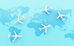 3d Airplanes flying around globe with map pointer. 3d illustration. Airplanes flying around globe with map pointer. World Travel concept Stock Photography