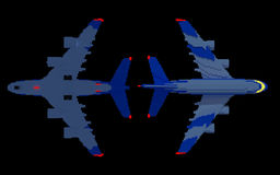 3d airplanes with their night lights on. 3d image of two airplanes with their night lights on. Top and bottom view. Made in retro voxel style. Isolaged on black Stock Photos
