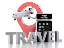 3d airport board and airplane. Travel concept Royalty Free Stock Photo