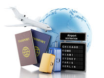 3d Airport board, passport and travel suitcases. 3d illustration. Earth, Airport board, passport and travel suitcases. Airline travel concept.  white background Stock Photos