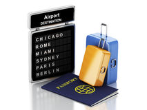 3d Airport board, passport and travel suitcases. 3d renderer illustration. Airport board, passport and travel suitcases. Travel concept.  white background Royalty Free Stock Image