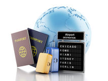 3d Airport board, passport and travel suitcases. 3d renderer illustration. Earth, Airport board, passport and travel suitcases. Travel concept.  white background Stock Photos