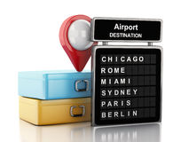 3d Airport board, travel suitcases and airport pointer. Stock Photography