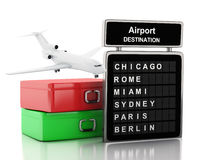3d Airport board and travel suitcases. 3d renderer illustration. Airport board and travel suitcases. vacation concept.  white background Royalty Free Stock Images