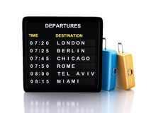 3d airport board and travel suitcases on white background. Image of 3d illustration render. airport board and travel suitcases on white background Stock Images