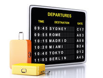 3d airport board and travel suitcases on white background Stock Photography