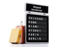 3d airport board and travel suitcases on white background Stock Images