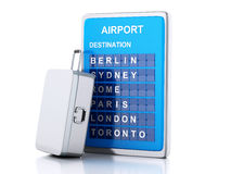 3d airport board and travel suitcases on white background Stock Photos