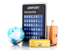 3d airport board and travel suitcases on white background Royalty Free Stock Image