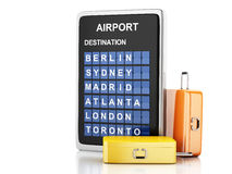 3d airport board and travel suitcases on white background Royalty Free Stock Photography