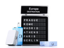 3d airport board and travel suitcases on white background. Image of 3d illustration render. airport board, europe destination and travel suitcases on white Royalty Free Stock Photography