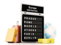3d airport board and travel suitcases on white background Stock Image