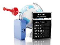 3d Airport board, travel suitcases and world globe. Stock Photo