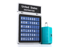 3d airport board. USA travel information on white background. Image of 3d illustration render. airport board and suitcase. USA travel information on  white Stock Image