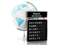 3d Airport board and world globe. 3d renderer image. Airport board and world globe. Travel concept.  white background Stock Image