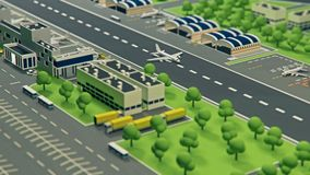 3d airport with planes animation