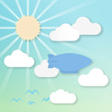 3d Airship. 3d effect drawing of an airship in a sunny sky Royalty Free Stock Photo