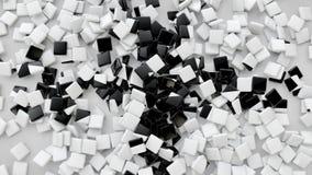 3D ajustan las tejas dispersadas en el piso, fondo de la representación 3D Fotografía de archivo