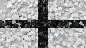 3D ajustan las tejas dispersadas en el piso, fondo de la representación 3D Imagen de archivo libre de regalías
