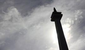 DŻAKARTA, Grudzień 20th, 2016 Dżakarta Monas w sylwetce Obraz Stock