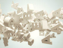3d al azar pone letras al vuelo Imágenes de archivo libres de regalías
