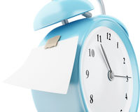 3d Alarm clock with empty sticky paper. 3d illustration. Alarm clock with empty sticky paper. Reminder concept.  white background Stock Images