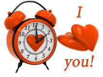 3D Alarm Clock with hearts. And the inscription I love you Stock Photo