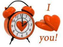 3D Alarm Clock with hearts Stock Photo