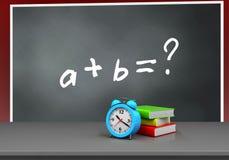 3d alarm clock. 3d illustration of blackboard with math exercise text and alarm clock Stock Photos
