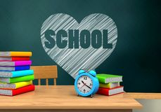 3d alarm clock. 3d illustration of schoolboard with heart and school text and alarm clock Stock Photography