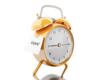 3d Alarm clock with sticky paper writen Royalty Free Stock Photo