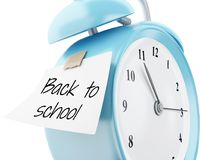 3d Alarm clock with sticky paper written. 3d illustration. Alarm clock with sticky paper written `back to school`. Education concept. Isolated white background Stock Photography