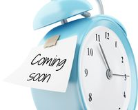 3d Alarm clock with sticky paper written. 3d illustration. Alarm clock with sticky paper written `coming soon`. Reminder concept.  white background Royalty Free Stock Photography