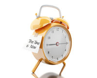 3d Alarm clock with sticky paper written. 3d illustration. Alarm clock with sticky paper written `the ime is now`. Reminder concept. Isolated white background Royalty Free Stock Photography