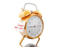 3d Alarm clock with sticky paper written. 3d illustration. Alarm clock with sticky paper written & x22;limited time offer& x22;. Reminder concept.  white Stock Images