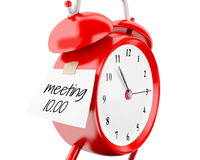 3d Alarm clock with sticky paper written. 3d illustration. Alarm clock with sticky paper written `meeting 10.00`. Business concept. Isolated white background Stock Images