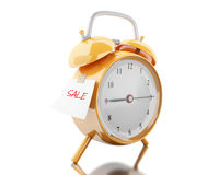 3d Alarm clock with sticky paper written. 3d illustration. Alarm clock with sticky paper written `sale`. Business concept. Isolated white background Stock Image