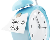 3d Alarm clock with sticky paper written. 3d illustration. Alarm clock with sticky paper written `time to study`. Education concept. Isolated white background Stock Photos
