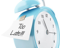 3d Alarm clock with sticky paper written. 3d illustration. Alarm clock with sticky paper written `too late!`. Reminder concept. Isolated white background Stock Photo