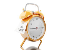 3d Alarm clock with sticky paper written. 3d illustration. Alarm clock with sticky paper written `too late`. Reminder concept. Isolated white background Stock Photography