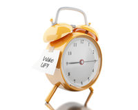 3d Alarm clock with sticky paper written. 3d illustration. Alarm clock with sticky paper written `wake up`. Reminder concept.  white background Royalty Free Stock Photo