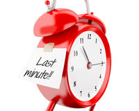 3d Alarm clock with sticky paper written Royalty Free Stock Photography