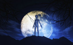 3D Alien against moonlit sky. 3D render of an alien against moonlit sky Royalty Free Stock Image