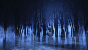 3D alien in a foggy forest. 3D render of an alien in a spooky foggy forest Royalty Free Stock Photos