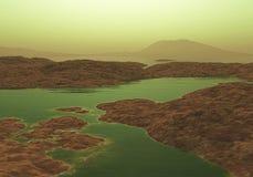 3D alien landscape. 3D render of an alien landscape Stock Photos