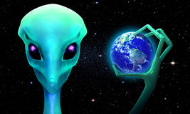 3d alien with planet earth. 3d render of planet earth  in the hand of an alien Royalty Free Stock Photos