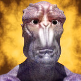 3d alien portrait. 3d futuristic SCIFI alien portrait Stock Photography