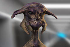 3d alien portrait. 3d futuristic SCIFI alien portrait Royalty Free Stock Photo