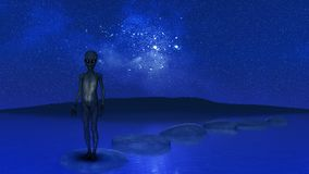 3D alien stood on stepping stones in ocean against night sky stock illustration